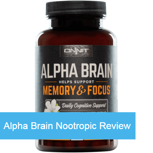 Bottle of Alpha Brain nootropic supplements