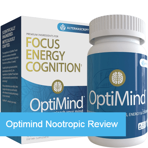 Optimind nootropic supplement box and bottle