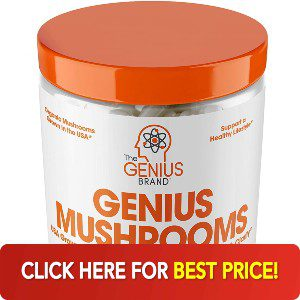 Bottle of Genius Mushrooms with best price button