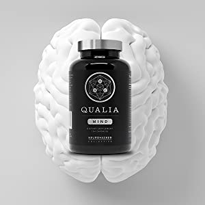 A bottle of Quilia Mind on top of a brain
