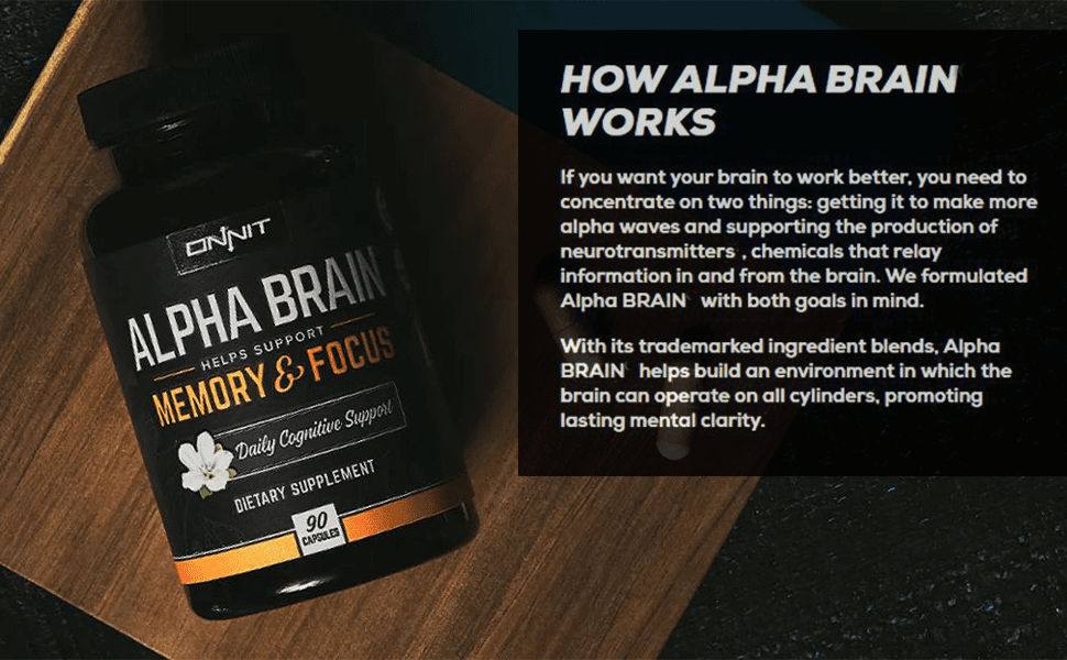 Alpha Brain bottle and explanation of how it works