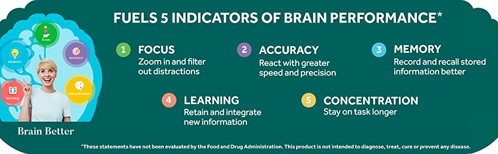 List of 5 different brain performance indicators