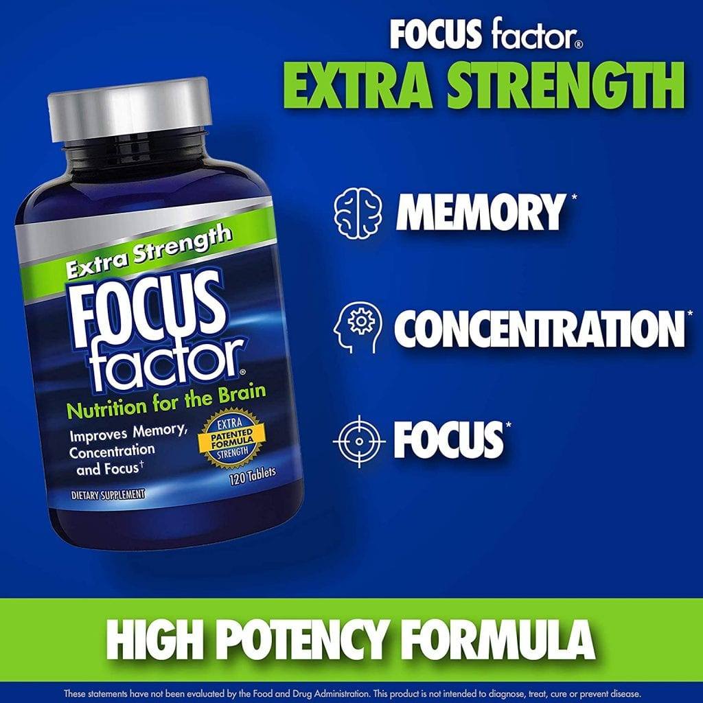 Focus Factor bottle and list of benefits