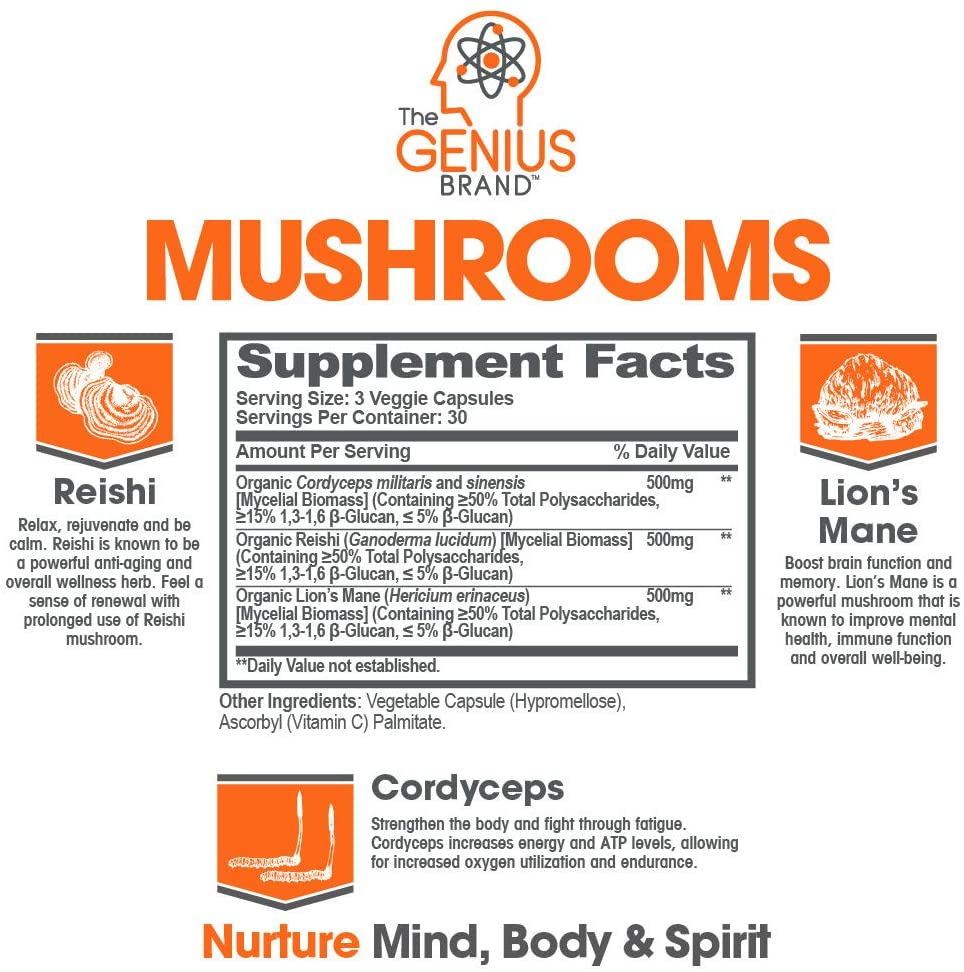 A product label for Genius Mushrooms supplements