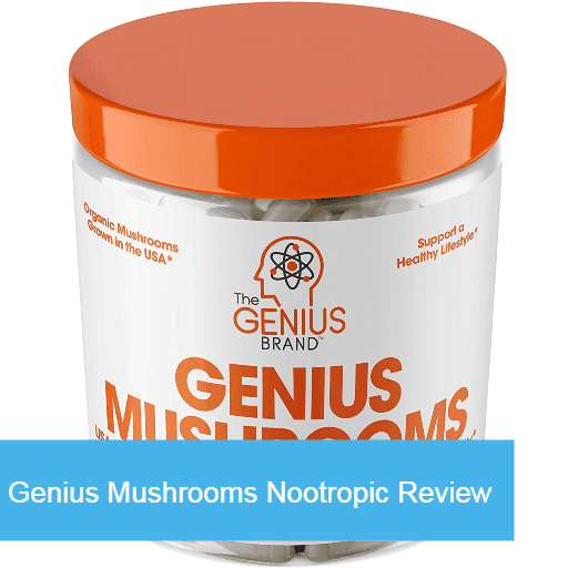 A bottle of Genius Mushrooms supplements